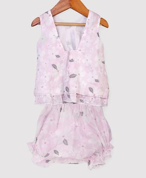 Nino Bambino 100% Organic Cotton Sleeveless Flower Print Top With Shorts - Pink