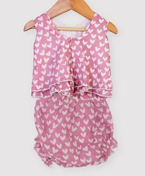 Nino Bambino 100% Organic Cotton Sleeveless Heart Print Top With Shorts - Pink