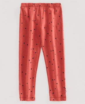 Nino Bambino 100% Organic Cotton Polka Dot Print Leggings - Peach