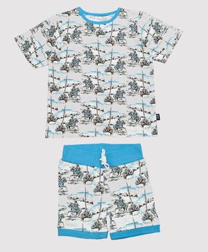 Nino Bambino 100% Organic Cotton Half Sleeves Horse Print Tee With Shorts - Blue