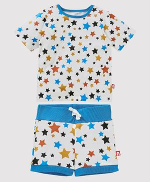 Nino Bambino 100% Organic Cotton Half Sleeves Star Print Tee With Shorts - White