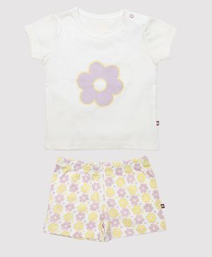 Nino Bambino 100% Organic Cotton Half Sleeves Flower Print Tee With Shorts - White
