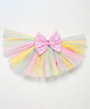 PinkChick Short Length Sequined Bow Embellished Tutu Skirt - Multi Colour