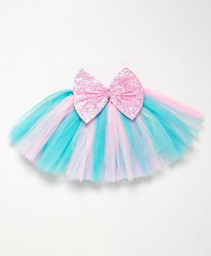 PinkChick Short Length Sequined Bow Embellished Tutu Skirt - Blue & Pink