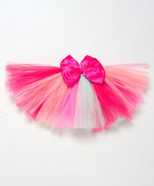 PinkChick Solid Colour Bow Detailing Layered Tutu Skirt - Pink