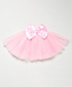 PinkChick Solid Colour Bow Detailing Tutu Flared Skirt - Baby Pink
