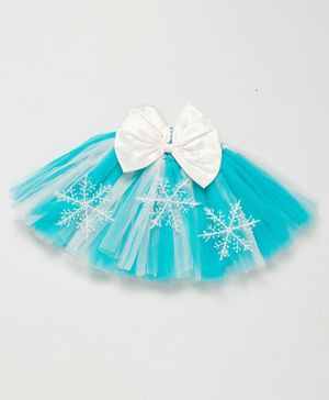 PinkChick Frozen Bow Detailed Snowflakes Netted Skirt - Blue