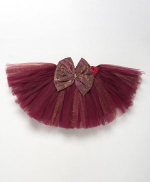 PinkChick Sequined Glittery Tutu Bow Netted Skirt - Wine