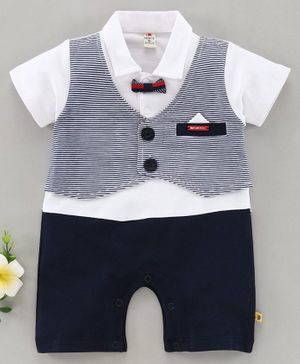 Brats & Dolls Half Sleeves Party Suit Style Romper With Bow - White Navy Blue
