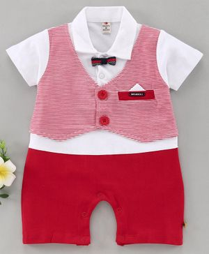 Brats & Dolls Half Sleeves Party Suit Style Romper With Bow - White Red
