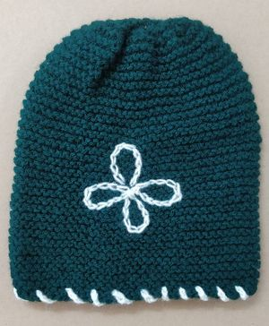 Knit Masters Flower Embroidery Cap - Dark Green
