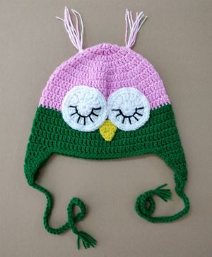 Knit Masters Owl Pattern Cap - Pink & Green
