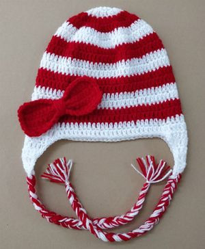 Knit Masters Stripe Pattern Bow Detailing Cap - Red