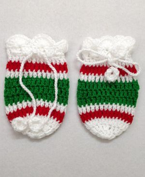 Knit Masters Striped Pattern Mittens - White & Green