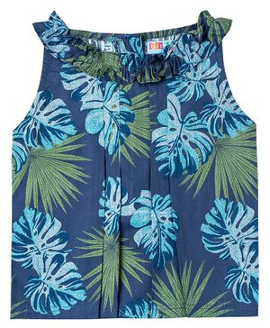 Kid Studio Floral Printed Sleeveless Top - Blue