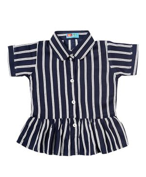 Kid Studio Short Sleeves Striped Collar Neck Top - Navy Blue