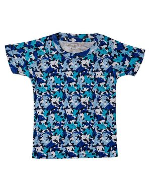 Kid Studio Short Sleeves Whale Print Tee - Blue