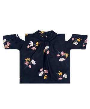 Kid Studio Short Sleeves Cold Shoulder Flower Print Top - Black
