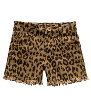 Kid Studio Mid Rise Leopard Print Shorts - Brown