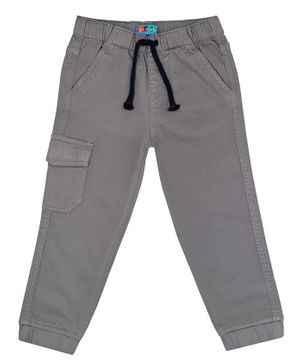 Kid Studio Solid Front Pocketed Trousers - Grey