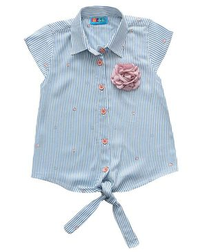 Kid Studio Cap Sleeves Striped Bow Knot Top - Blue