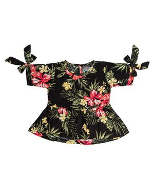 Kid Studio Floral Print Short Sleeves Top - Black