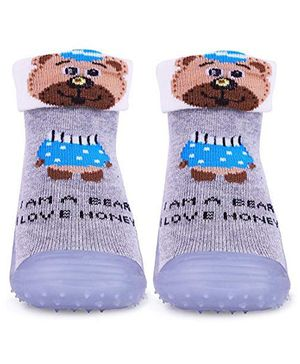 U-grow Anti-Skid Breathable Soft Socks Shoes Bear Design - Grey - Europe Size-19