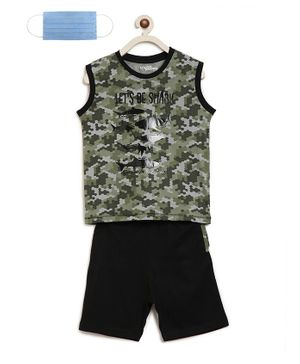 Li'L tomatoes Sleeveless Shark Printed Night Suit With Free 3-Ply Face Mask - Green