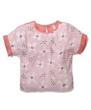 Miss Pretty Flower Print Top - Peach