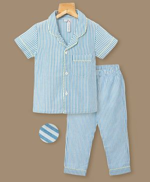 Little Carrot Half Sleeves Striped Night Suit - Blue