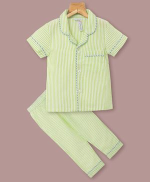 Little Carrot Half Sleeves Striped Night Suit - Green