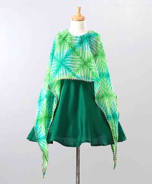 The Little Fashionistas Full Sleeves  Tie Dye Pattern Drape Attached Dress - Green