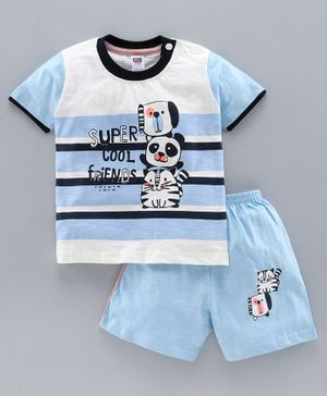Nottie Planet Half Sleeves Panda Print Tee With Shorts - Blue