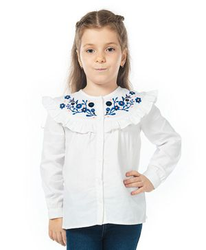 Cherry Crumble By Nitt Hyman Full Sleeves Flower Embroidered Top - White