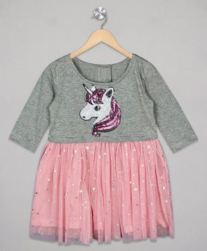 The Sandbox Clothing Co Full Sleeves Sequined Unicorn Design Dress - Pink