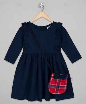 The Sandbox Clothing Co Full Sleeves Solid Dress - Blue