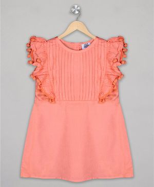 The Sandbox Clothing Co Short Sleeves Solid Dress - Peach