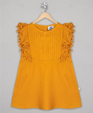 The Sandbox Clothing Co Short Sleeves Solid Dress - Mustard