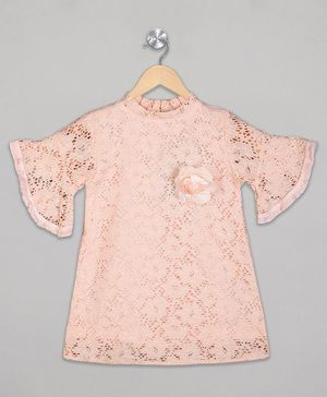 The Sandbox Clothing Co Half Sleeves Floral Detailing Dress - Peach