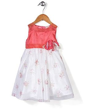 Little Coogie Flower Print Dress - Coral