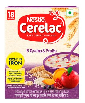 Nestle Cerelac Fortified Baby Cereal with Milk 5 Grains & Fruits - From 18 to 24 Months 300gm Bib Pack