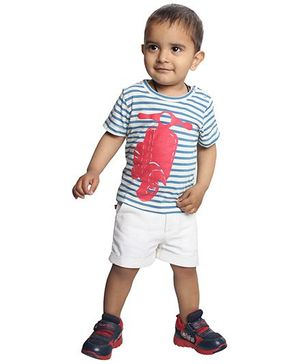 Nino Bambino Organic Cotton T-Shirt And Shorts - Blue White