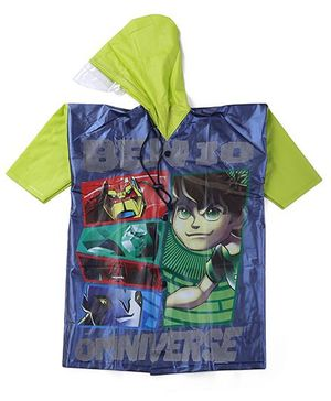 Ben 10 Printed Raincoat - Green And Multi Color
