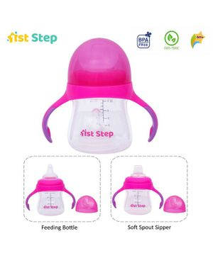 1st Step 2 Stage Cup With Silicone Nipple and Spout Pink - 150 ml
