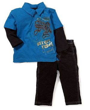 Little Rebels 2 Piece Pant & T-Shirt Set - Blue & Black