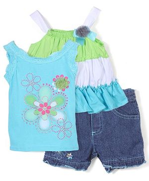 Nannette Floral Design Top & Shorts Set - Blue & Green
