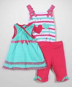 Nannette Dress Top & Shorts Set - Blue & Pink