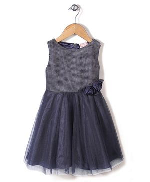 Little Coogie Fit N Flare Dress With Flower - Dark Grey