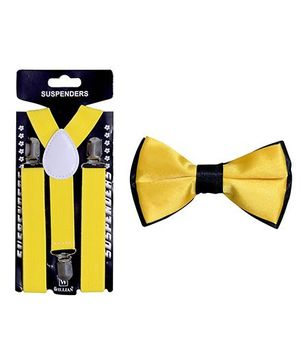 Tiekart Fire Walk Bow Tie & Suspender Combo - Lemon Yellow
