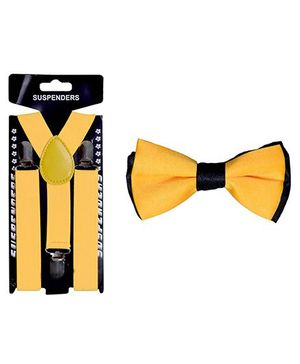 Tiekart Fire Walk Bow Tie & Suspender Combo - Yellow